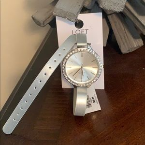 Silver Wrap-Around Watch with Rhinestone Face